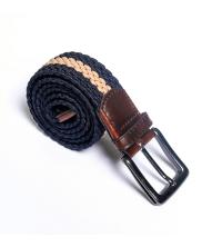 ceinture tresse- bleu/beige