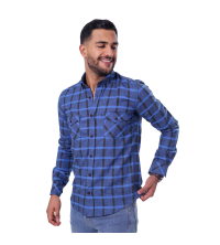 chemise flanelle - bleu