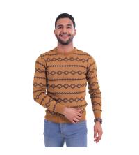 pull raye en jacquard- marine/ camel