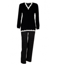 SECRET INTIME: SECRET INTIME Pyjama 2 pièces look black and white viscose bw04pl/ap01pt