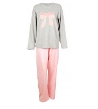 SECRET INTIME: SECRET INTIME pyjama 2 pièces coton motif dentelle gris chiné/rose bébé vr02pl/vr02pt