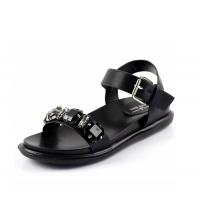 LAURA BERTI: Sandales plates Noir