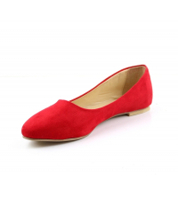 Ballerine femme daim Rouge