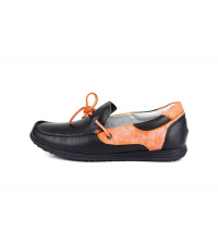 Mocassinà lacet Noir et Orange - 1003-NO