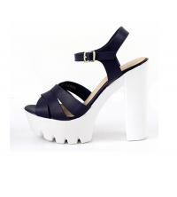 LAURA BERTI: Sandales compensées Bleu