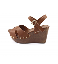 LAURA BERTI: Sandales compensées Camel