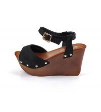 Sandales compensées Noir Daim - SLX-14037-8-BLACK