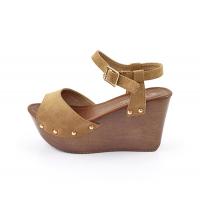 Sandales compensées Marron Daim - 14037-8-D.BEIGE