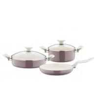 Batterie de cuisine rose 5 pièces céramique - Papilla