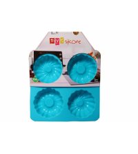 MYS SILICONE 4 Muffin Cake Moule Turquoise