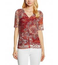 s.Oliver Premium T-Shirt femme imprimé orange 11-608-32-7424-23A4