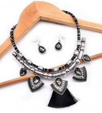 Parure bohème collier & boucles noir