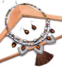 Parure bohème collier & boucles marron