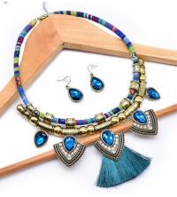 Parure bohème collier & boucles bleu ciel