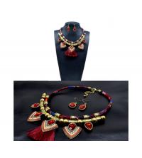 Parure bohème collier & boucles rouge