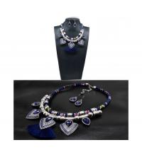 Parure bohème collier & boucles bleu marine