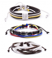 Pack de 3 Bracelets Homme hand-made irisés en cuir avec motif Infinity