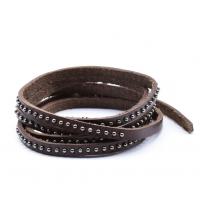 Bracelet Homme hand-made enroulé en cuir clouté marron