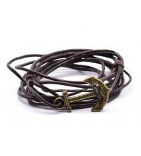 Bracelet Homme hand-made marron enroulé en cuir avec ancre en doré