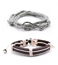 Pack de 2 bracelets Homme hand-made gris avec hameçon et cordage