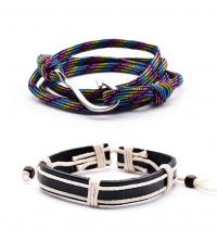 Pack de 2 bracelets Homme hand-made avec hameçon et cordage