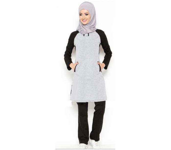 07545e6257f5 Survêtement noir et gris pour femme voilée - Vongo.tn