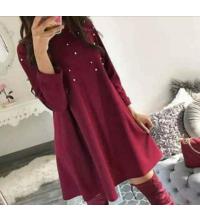 Robe rouge crépe scouba pour femme