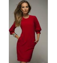 Robe rouge milano avec pochette pour femme