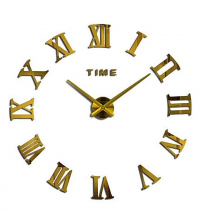 Horloge Murale Dorée Chiffres Romains