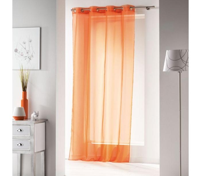 Panneaux de rideaux orange voile for Rideaux en voile