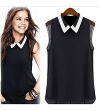 chemise noir et blanc sans manche pour femme