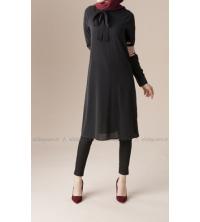 Chemise noir mousseline cravate pour femme voilée