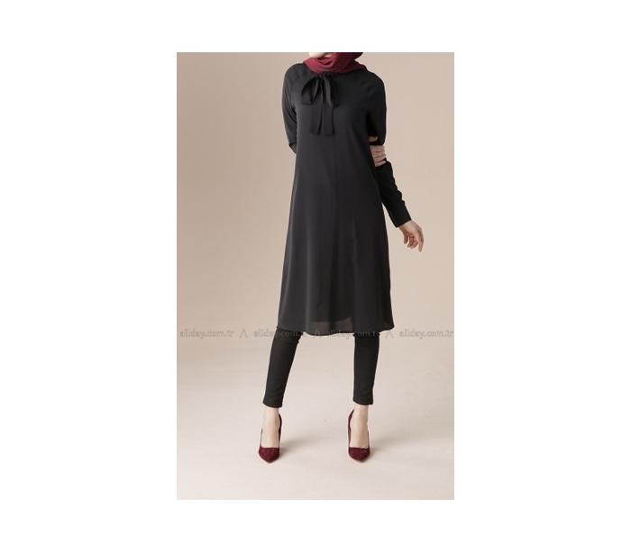 Chemise noir mousseline cravate pour femme voilée 3ef1e8bc1f1d