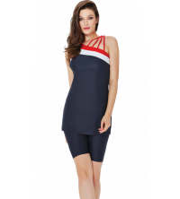 Maillot noir golf + pull sans manche pour femme noir - rouge -bleu