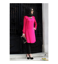 chemise rose fushia crepe pour femme voilée