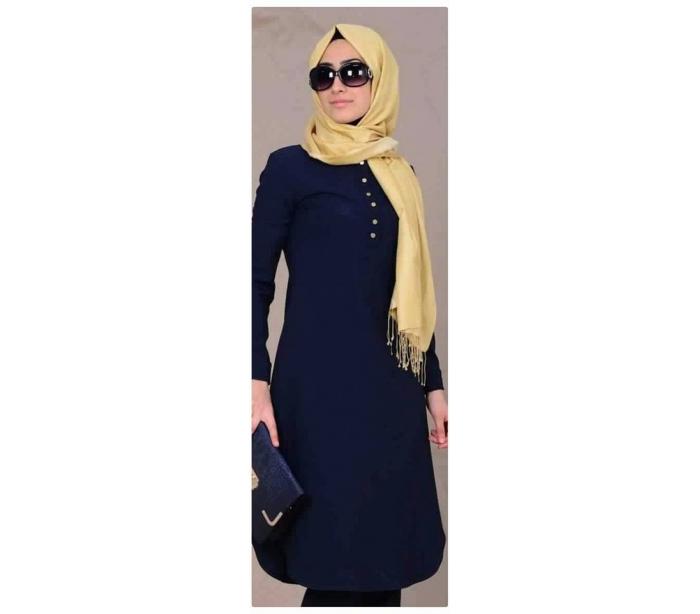 Chemise pour femme voilée bleu marine - Vongo.tn 14f0d6e7b8a7