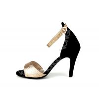 Sandales femme Noir & Doré
