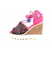 Sandales compensées Imprimée Rose