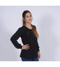 chemise noir de marque crepe de soie pour femme
