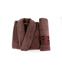 coffret cap de bain +serviette MARRON