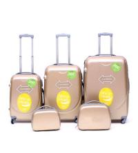 Set de 5 valises - ABS - 4 roues - polycarbonate - Champagne - 360 degré -Expander