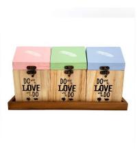 Box de rangement en bois avec support