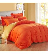 Housse de couettes + drap+ 2 taies d'oreiller orange et jaune