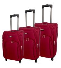 Set de 3 valises - Tissu- rouge - toile - 4 roues -360 degré