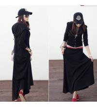 Jupe w veste noir molletonner pour femme