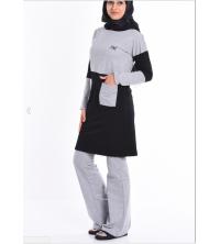 Survêtement noir et gris pour femme voilée avec pochette
