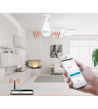 Caméra Ampoule Lumière Sans Fil IP Caméra Wi-fi FishEye 360 degrés