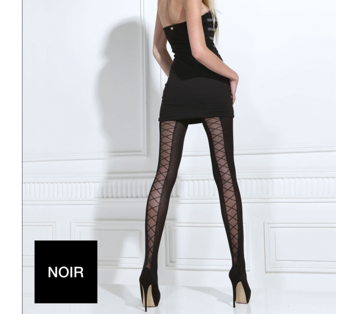 Collant laçage 70 deniers noir Tentation - Vongo.tn df2a7f24147