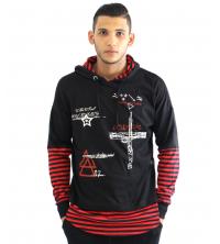 Capuche pour homme avec Rayure Noir & rouge