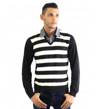 Pull col chemise avec Rayure